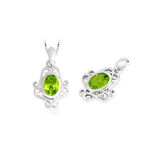 Oval Cut Peridot Pendant in Sterling Silver