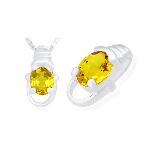 Oravo Oval Cut Citrine Pendant in Sterling Silver