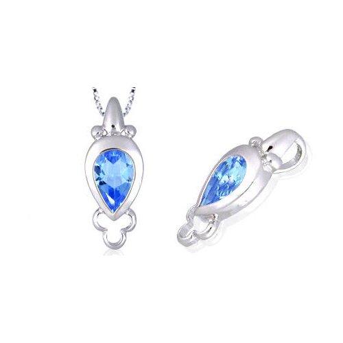 Cultured Pearl Cut Swiss Blue Topaz Pendant in Sterling Silver