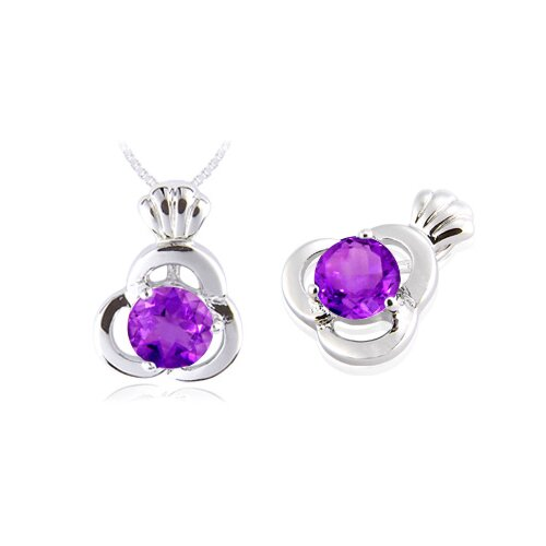 Oravo Round Cut Amethyst Pendant in Sterling Silver