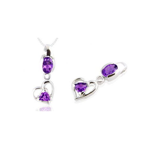 Oravo Oval & Trillion Cut Amethyst Pendant in Sterling Silver