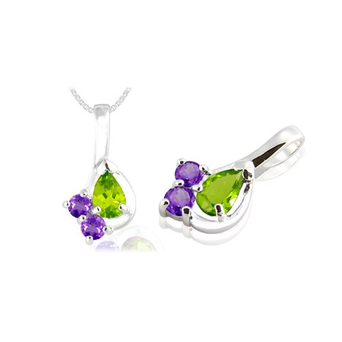 Pear & Round Cut Peridot Amethyst Three-Stone Pendant in Sterling Silver
