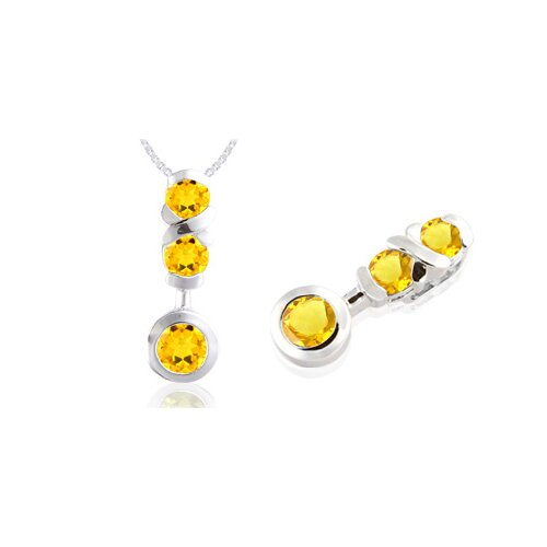 Oravo Round Cut Citrine Three-Stone Pendant in Sterling Silver