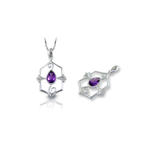 Oravo Pear Cut Amethyst Pendant in Sterling Silver