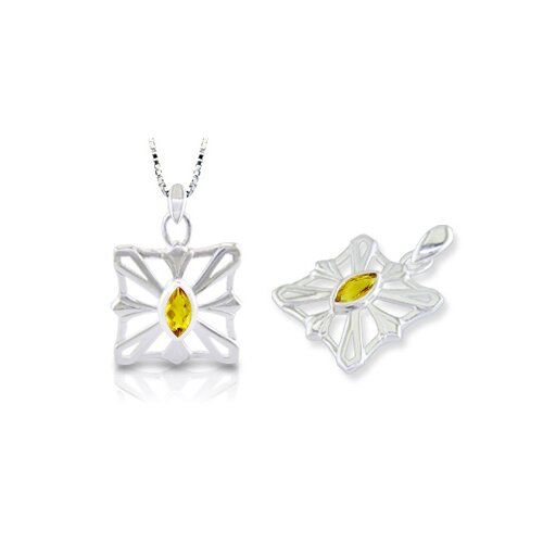 Oravo Marquise Cut Citrine Pendant in Sterling Silver