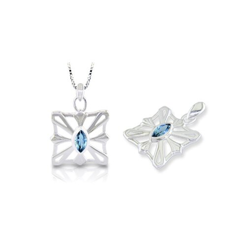 Oravo Marquise Cut London Blue Topaz Pendant in Sterling Silver