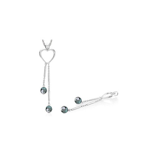 Round Heamatite Bead Heart Pendant in Sterling Silver