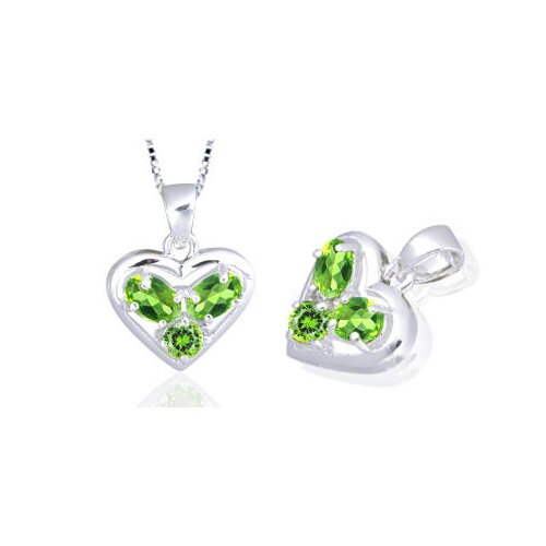Oval Round Cut Peridot Three Stone Heart Pendant in Sterling Silver