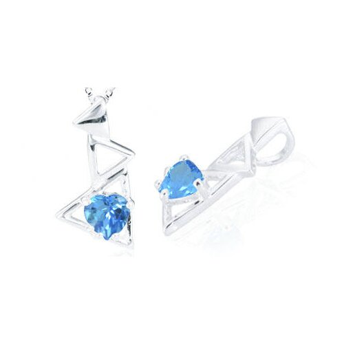 Heart Cut Swiss Blue Topaz Pendant in Sterling Silver