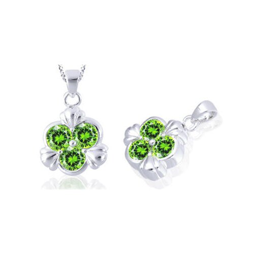 Round Cut Peridot Three Stone Pendant in Sterling Silver