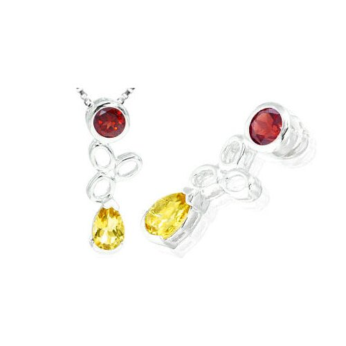 Round & Pear Cut Citrine Garnet Pendant in Sterling Silver