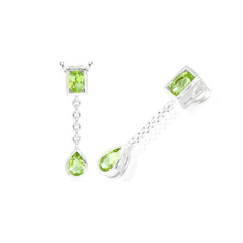 Oval Pear Cut Peridot Pendant in Sterling Silver