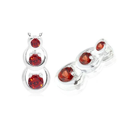 Oravo Round Cut Garnet Three Stone Pendant in Sterling Silver