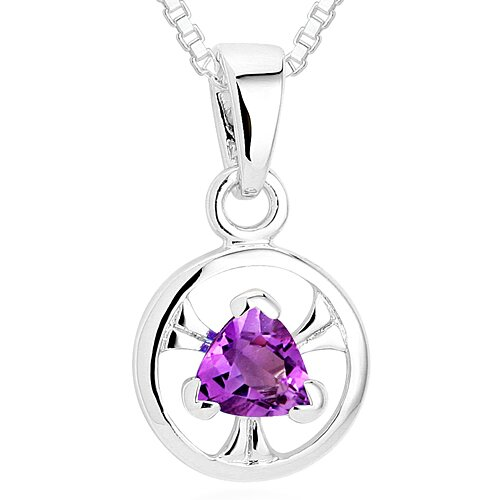 Oravo Trillion Cut Amethyst Pendant Necklace in Sterling Silver