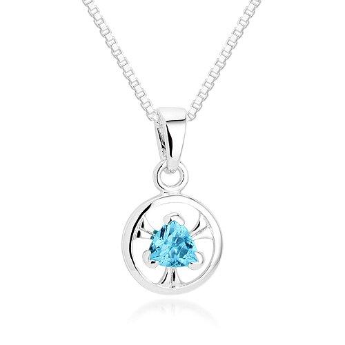 Oravo Trillion Cut Swiss Blue Topaz Pendant Necklace in Sterling Silver