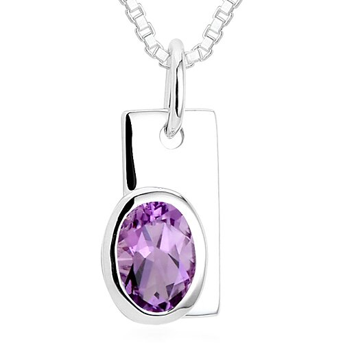 Oval Cut Amethyst Pendant Necklace in Sterling Silver