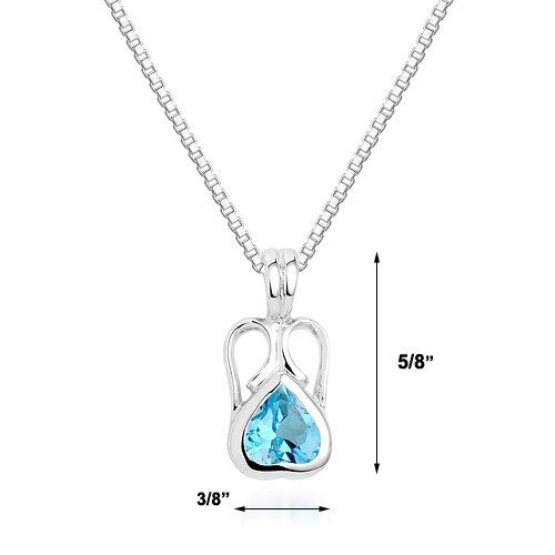 Oravo Heart Cut Swiss Blue Topaz Pendant Necklace in Sterling Silver