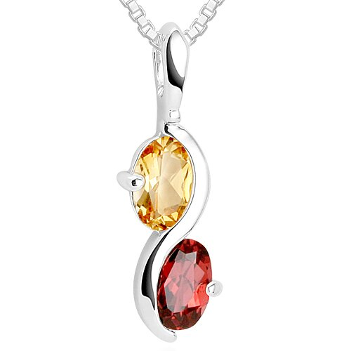 Oval Cut Citrine & Garnet Pendant Necklace in Sterling Silver