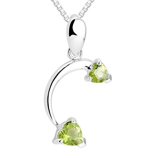 Oravo Heart Cut Peridot Pendant Necklace in Sterling Silver