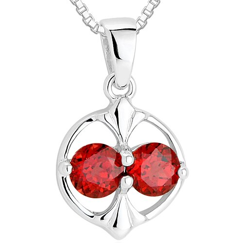 Round Cut Garnet Pendant Necklace in Sterling Silver