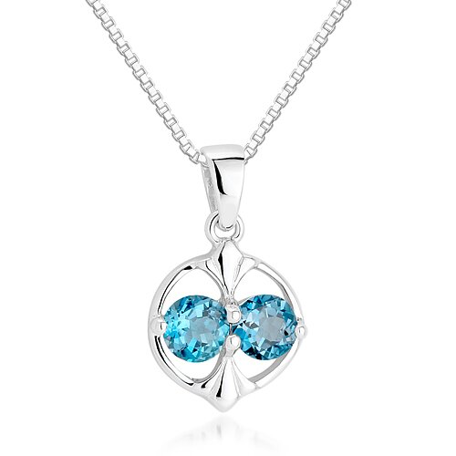 Oravo Round Cut London Blue Topaz Pendant Necklace in Sterling Silver