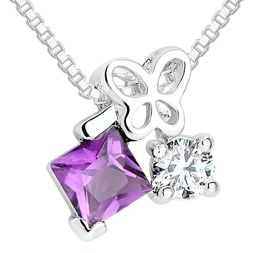 Princess Amethyst Round White CZ Pendant Necklace in Sterling Silver