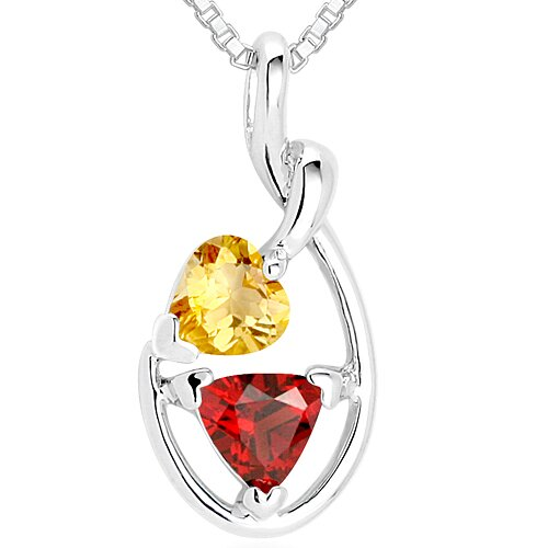 Heart Citrine & Trillion Garnet Pendant Necklace in Sterling Silver