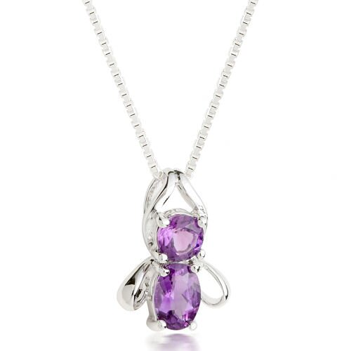 Oravo Round & Oval Cut Amethyst Pendant Necklace in Sterling Silver
