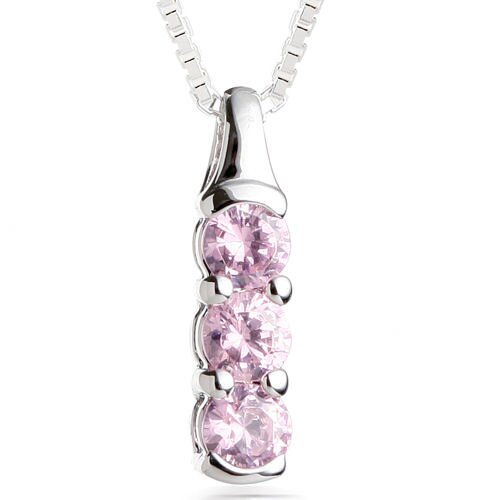 Round Cut Pink CZ Three Stone Pendant Necklace in Sterling Silver