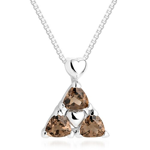 Oravo Trillion Cut Smoky Quartz Three Stone Pendant Necklace in Sterling Silver