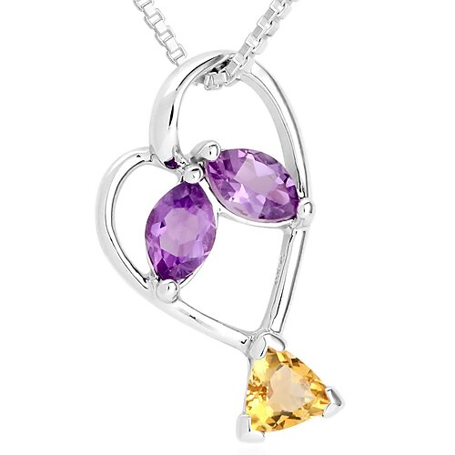 Marquise Amethyst Trillion Citrine Three Stone Pendant Necklace in Sterling Silver