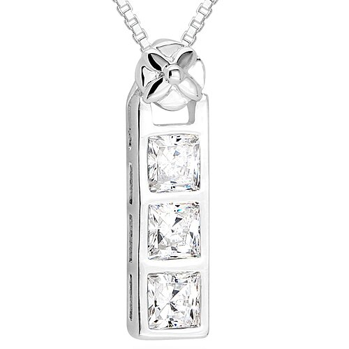 Oravo Princess Cut White CZ Three Stone Slide Pendant Necklace in Sterling Silver