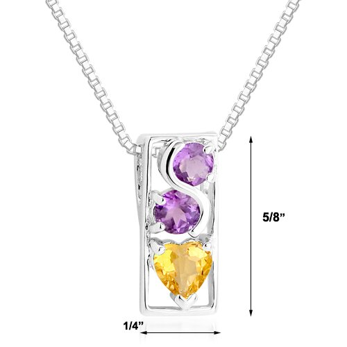 Oravo Round Amethyst Heart Citrine Pendant Necklace in Sterling Silver