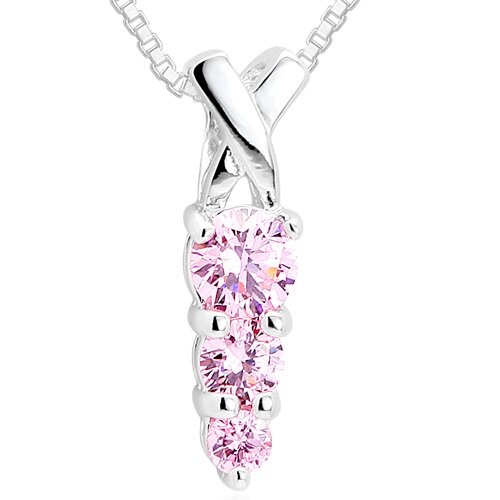 Round Cut Pink CZ Three- Stone Pendant Necklace in Sterling Silver