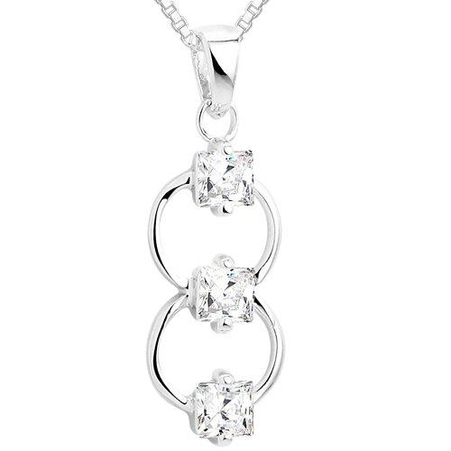 Princess Cut White CZ Three-Stone Pendant Necklace in Sterling Silver