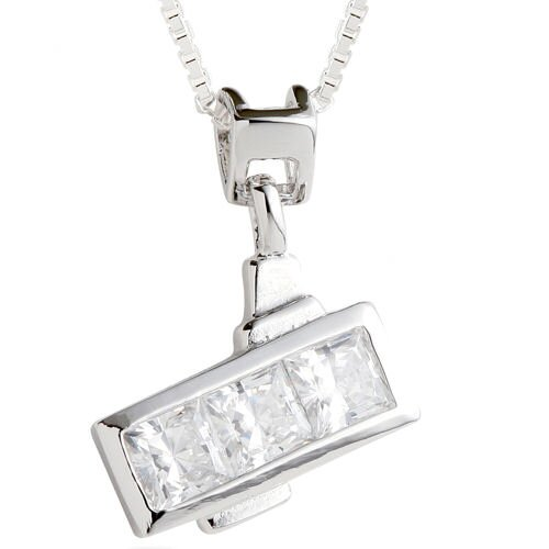 Princess Cut White CZ Three Stone Pendant Necklace in Sterling Silver