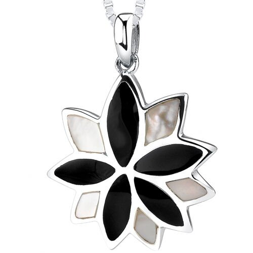 Black Onyx & White Mother of Pearl Sunstar Pendant in Sterling Silver