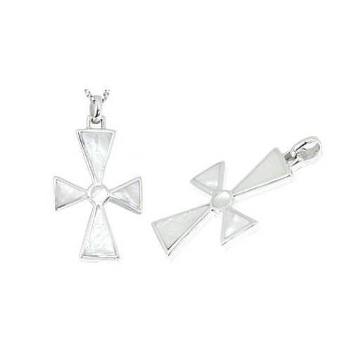 Oravo White Mother of Pearl Cross Pendant in Sterling Silver