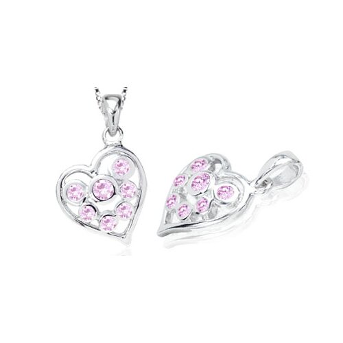 Round Cut Pink CZ Multistone Heart Pendant in Sterling Silver