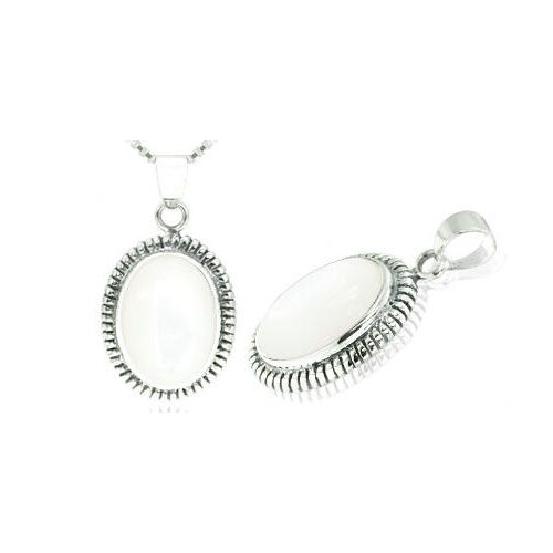 Oval Mother Of Pearl Bali Pendant in Sterling Silver