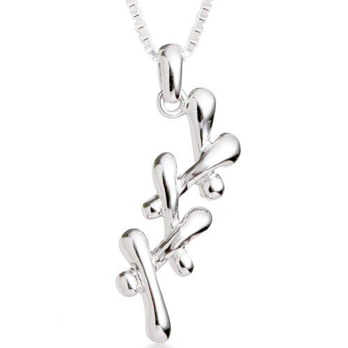 Oravo Unique Triple X Pendant Necklace in Sterling Silver