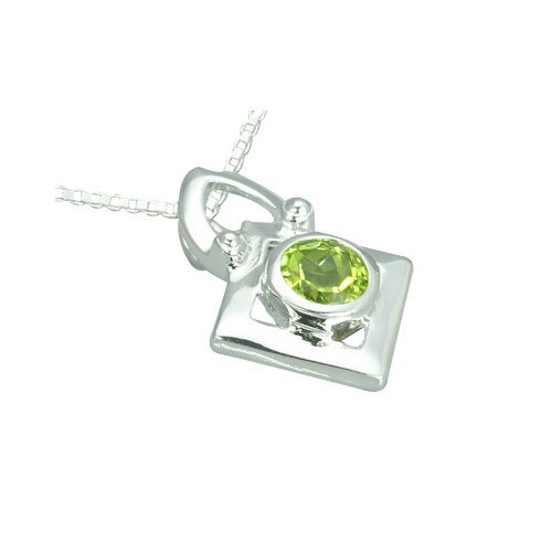 Oravo 1.00 Carat Round Genuine Peridot Pendant Necklace in Sterling Silver