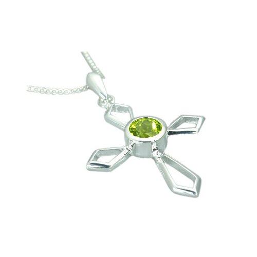 Oravo 1.00 Carat Genuine Round Peridot Cross Pendant Necklace in Sterling Silver