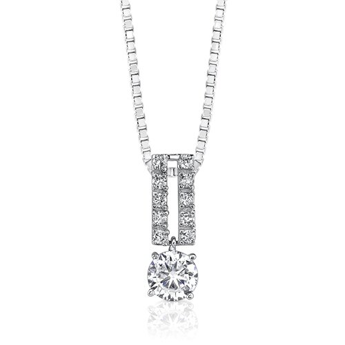 Oravo Dramatic Beauty Designer Inspired Bridal Style Solitaire Cubic Zirconia Pendant Necklace in Sterling Silver