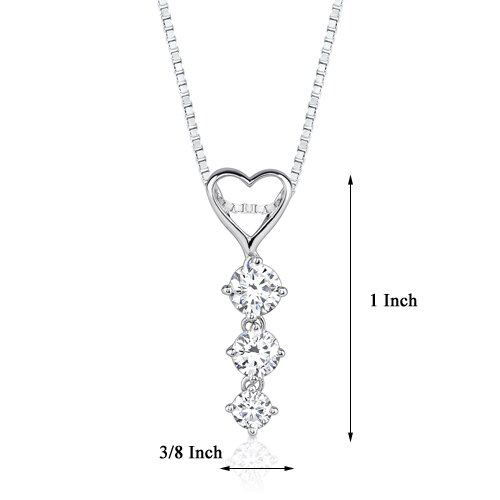 Oravo Ultimate Romance Designer Inspired Bridal Style Heart-shape Cubic Zirconia Pendant Necklace in Sterling Silver