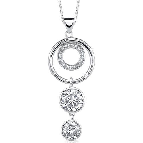 Encircled in Glamour Designer Inspired Circle Jewelry Cubic Zirconia Pendant Necklace in ...
