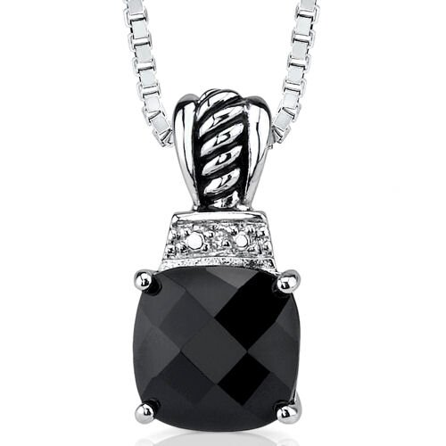 Regal Beauty Pendant Necklace with Cushion-cut Black Onyx and Cubic Zirconia in Sterling Silver