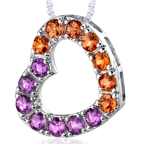 1.75 Carats Total Weight Round Shape Amethyst and Citrine Open Heart Pendant Necklace in ...