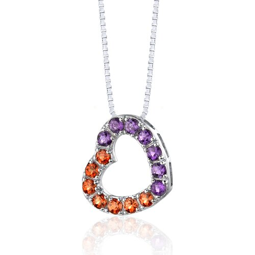 Oravo 2.00 Carats Total Weight Round Shape Padparascha Sapphire and Amethyst Open Heart Pendant Necklace in Sterling Silver
