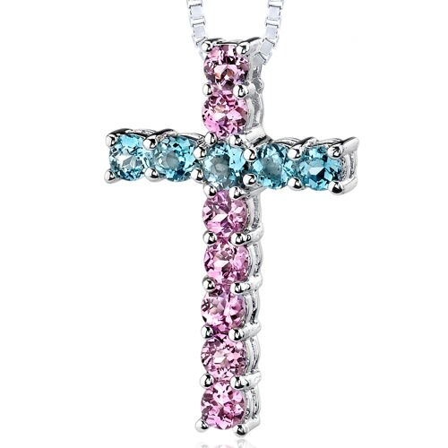 Oravo 1.75 Carats Total Weight Round Shape Pink Sapphire and Swiss Blue Topaz Cross Pendant Necklace in Sterling Silver